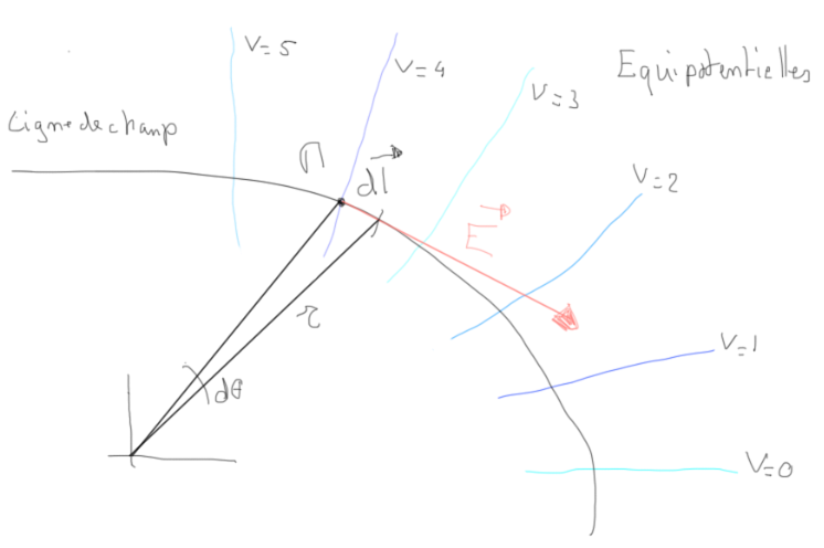 Equipotentielles et lignes de champ