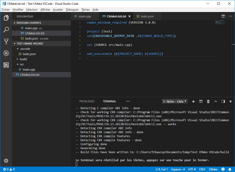 Call CMake from VS Code