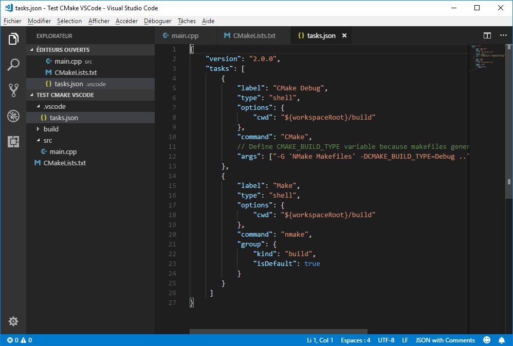 Task to call NMake from VS Code