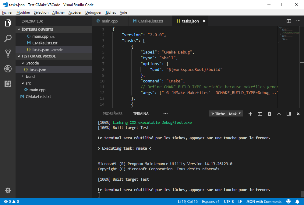 Call NMake from VS Code