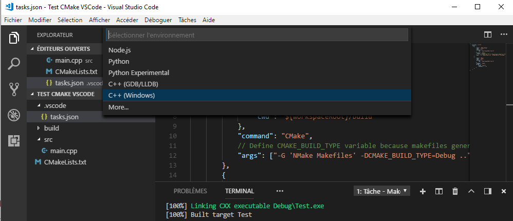 Select the Debug Configuration from VS Code