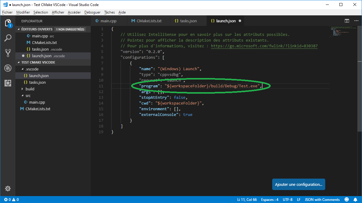 Modified launch.json from VS Code
