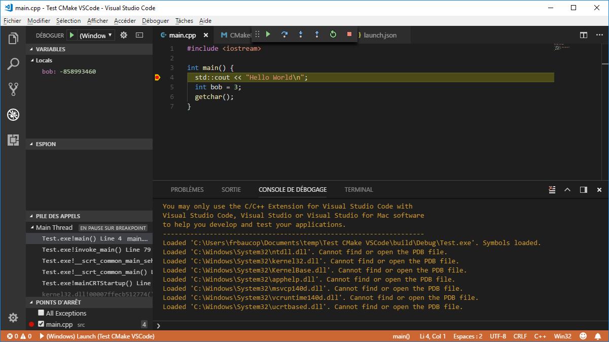 Debugger stopped in VS Code