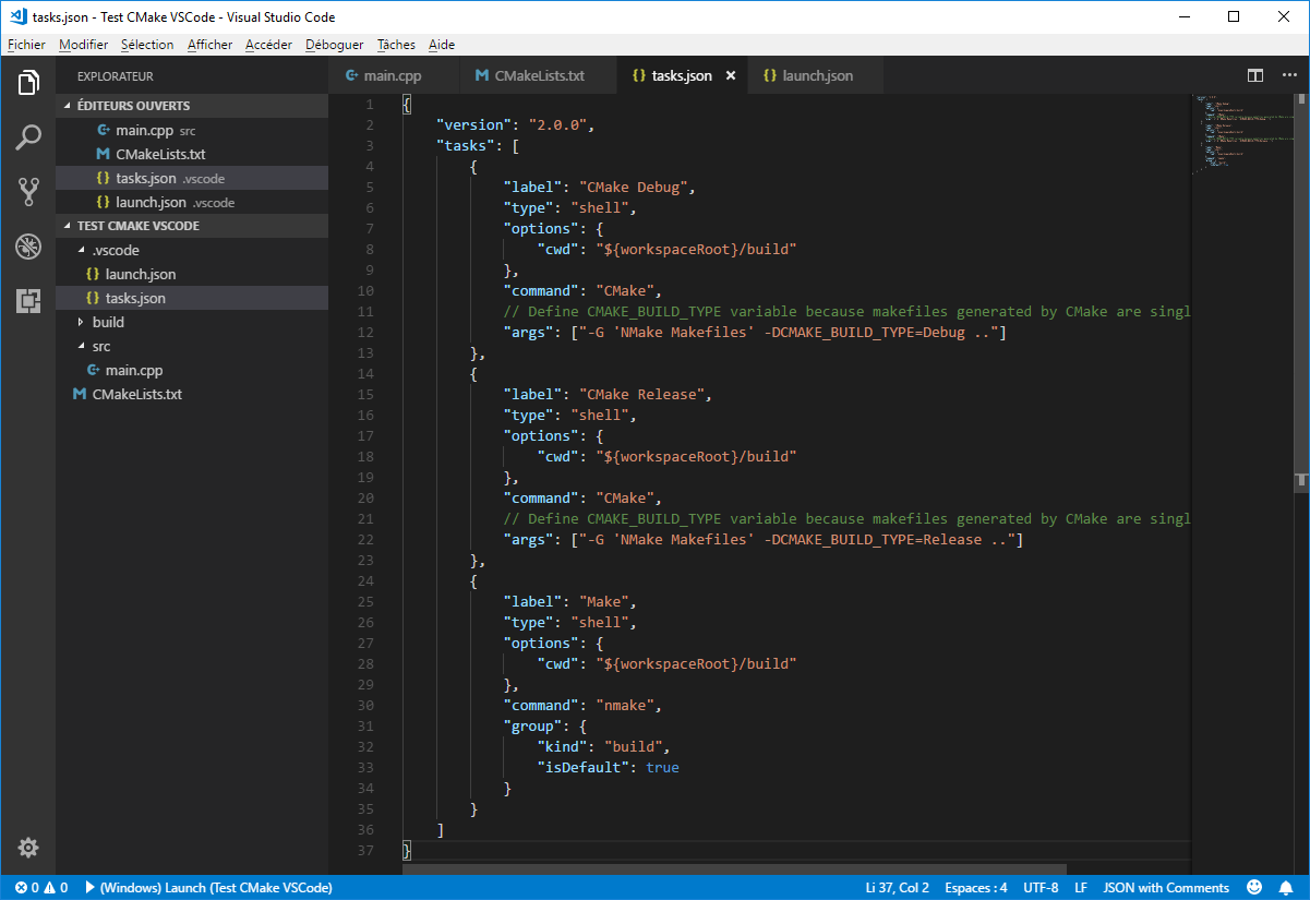 Compile with CMake and NMake in VS Code