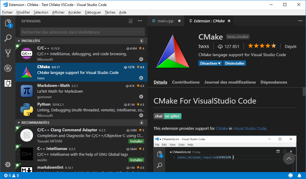 CMake extension for VS Code