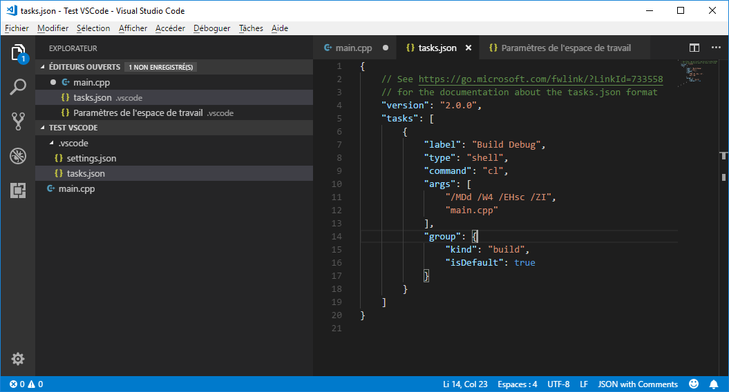First version of tasks.json in VS Code