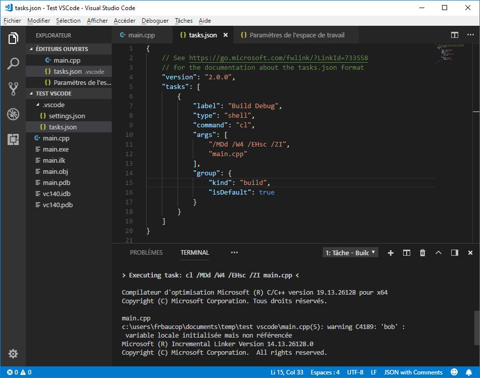 First build debug version in VS Code