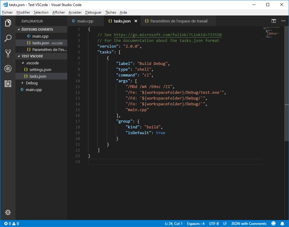 Second version of tasks.json in VS Code