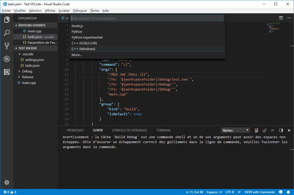 Select C++ Windows configuration in VS Code