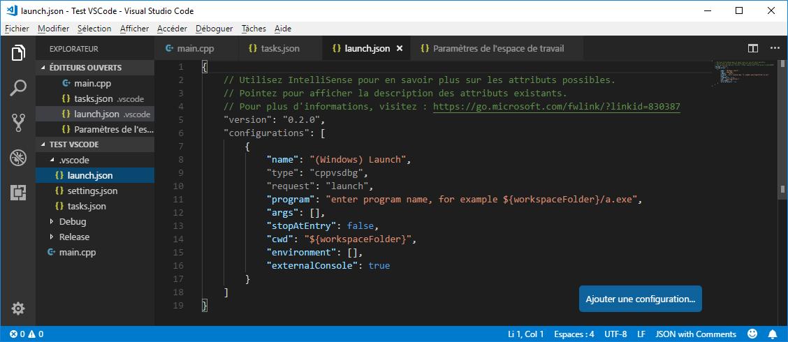 Default launch.json in VS Code