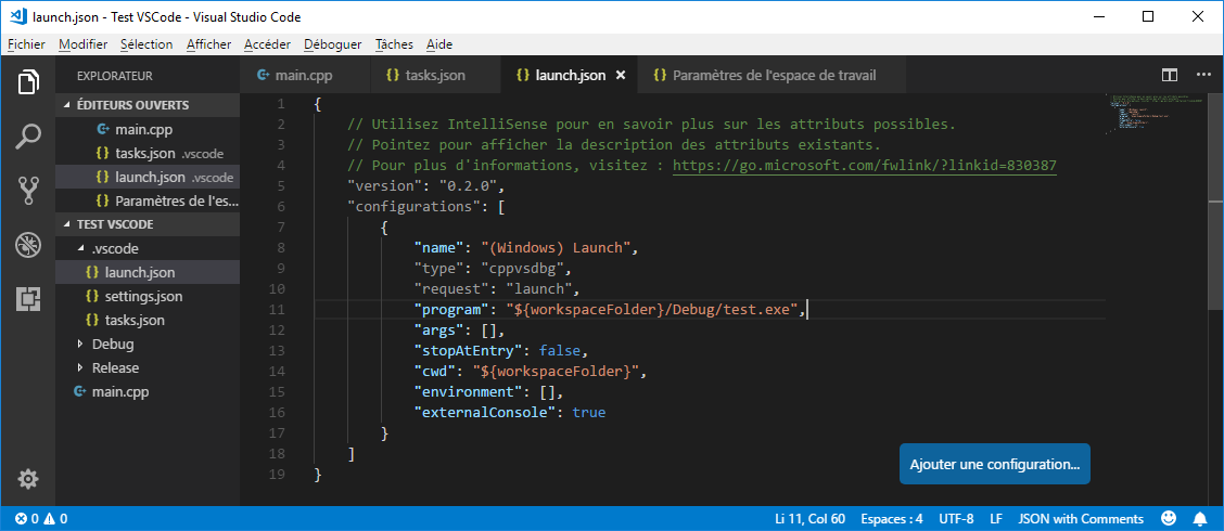 Custom version of launch.json in VS Code