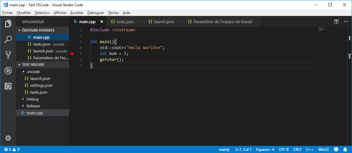 Set a breakpoint in VS Code