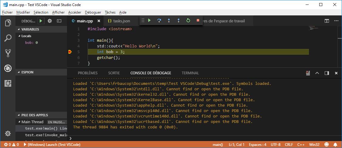 Debug session in VS Code