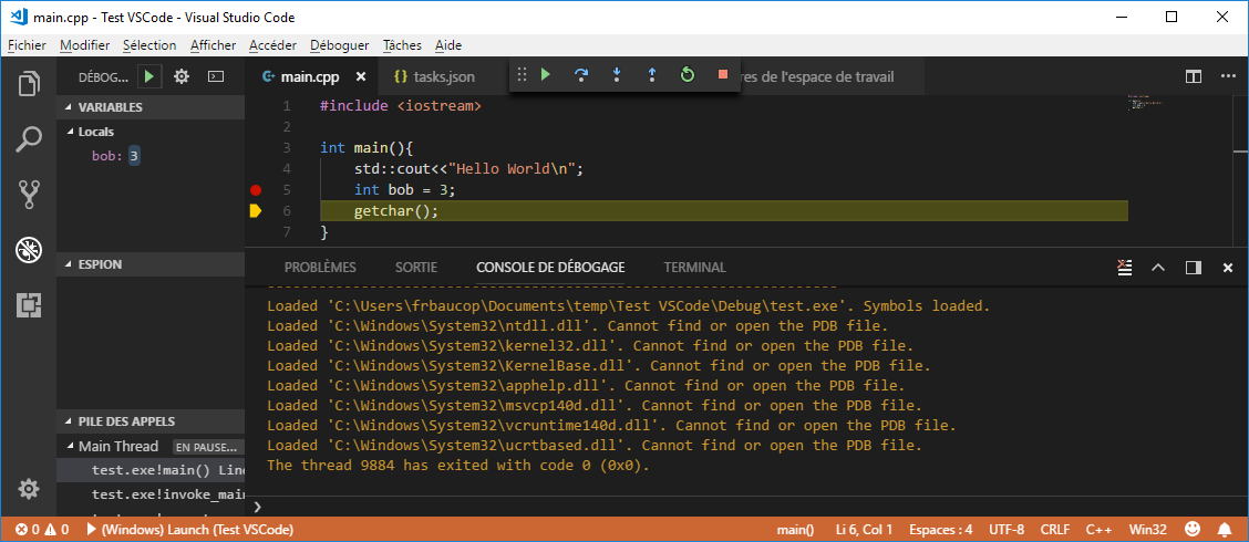 Step forward (F10) during debug session in VS Code