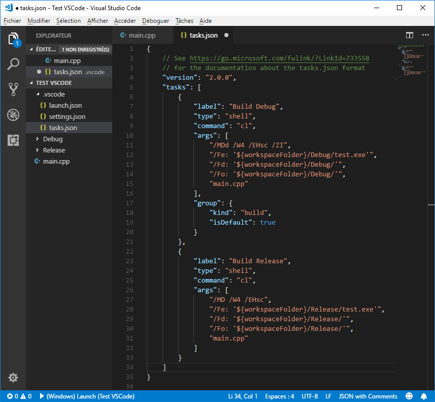 tasks.json with Debug and Release tasks in VS Code