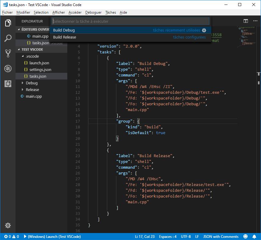 Select a task in VS Code