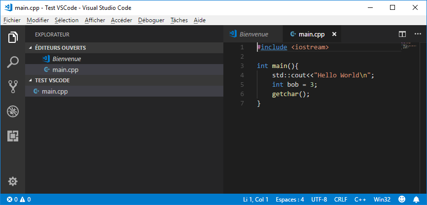 Basic code in VS Code but with intellisense active