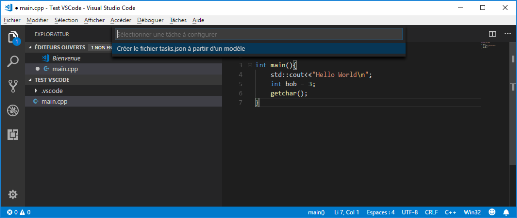 Create tasks.json in VS Code