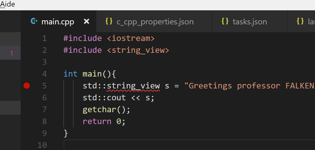 Set a breakpoint within VS Code