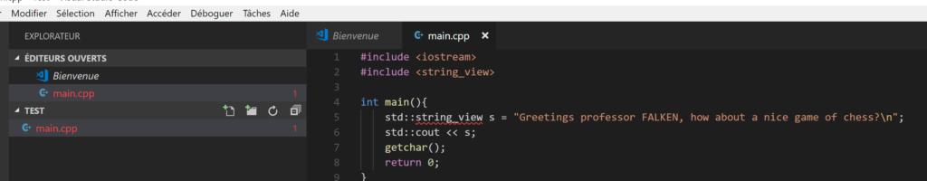 main.cpp in VS Code
