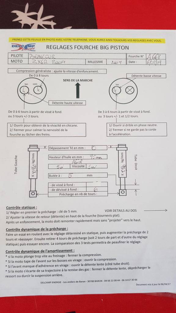 La fiche qui accompagne la fourche et l'amortisseur de ZX6R - 3/3